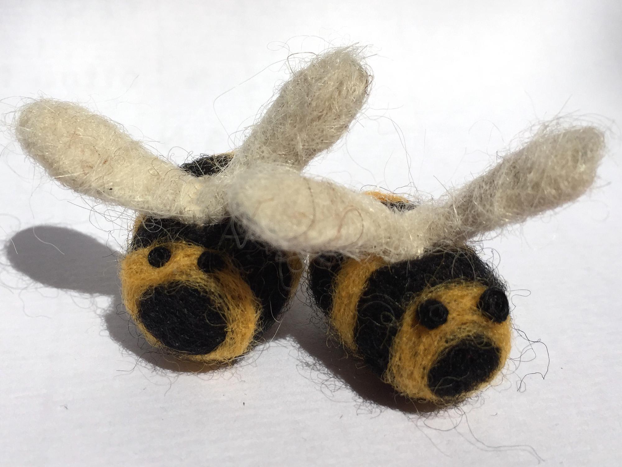 needlefelted bees