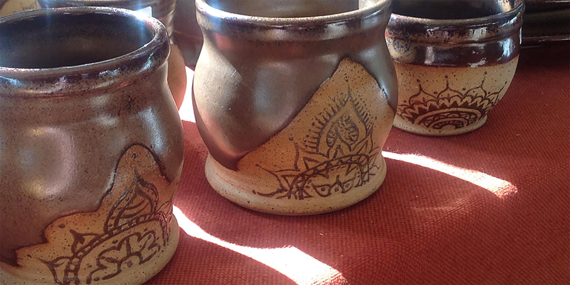 henna-patterned pottery