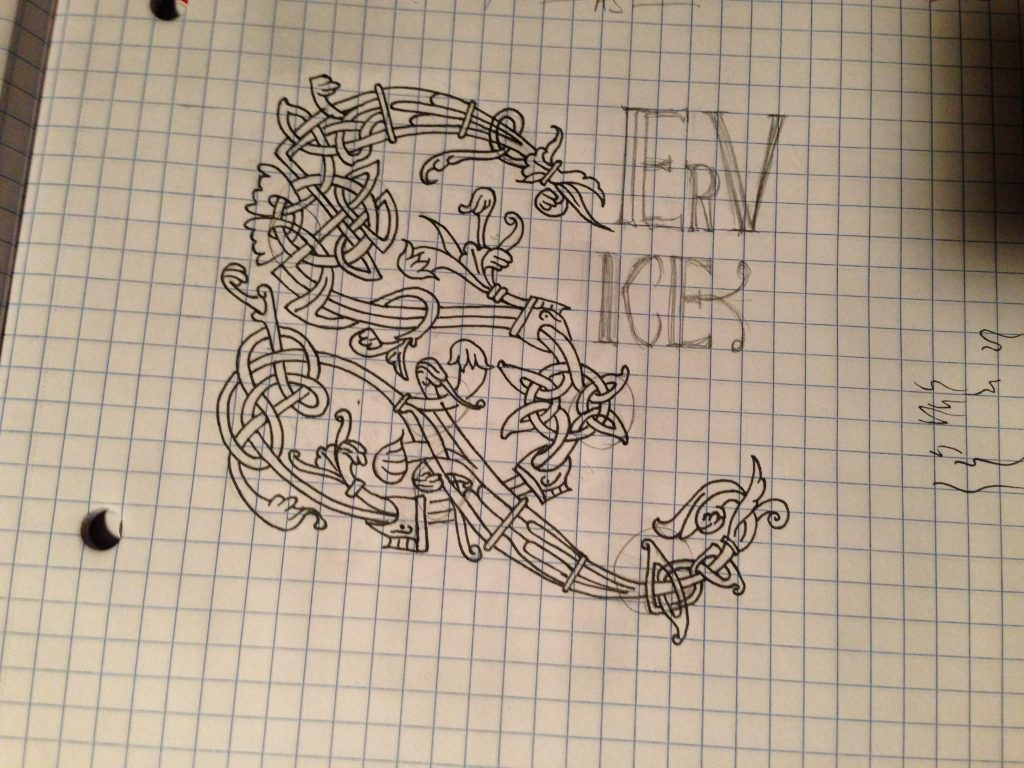 laying out the S initial